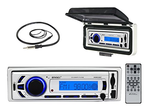 EnrockMarine EKMR256BT ACM3W EKMR1 AM/FM Radio USB AUX Bluetooth Receiver with Splashproof Cover & Antenna primary