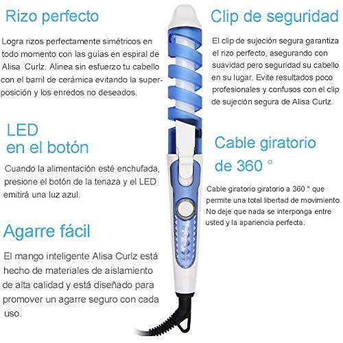 HCLESTORE Profesional Peluquería Portátil Espiral rizo de cerámica Rizador de pelo Moldeador de pelo Waver Fabricante (azul): Amazon.es: Belleza