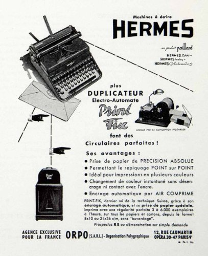 1954-ad-hermes-typewriter-12-rue-caumartin-paris-print-fix-french-typing-machine-original-print-ad