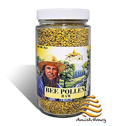 Goshen Honey Amish Extremely Raw BEE POLLEN Whole Granules Bee Bread - 100% Pure Natural Health Benefits - OU Kosher Certified Unfiltered | 8 Oz Glass Jar (Bee Granules Pollen)