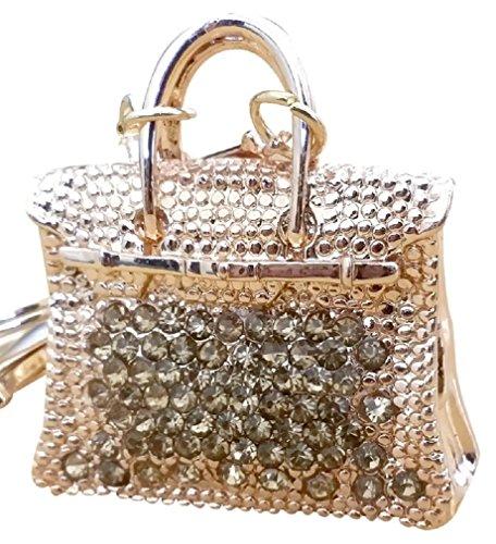 AM Landen Bling Gold Handbag Gold Rhinestone Key Chain Key Rings Handbag Purse Charm Best Women's Keychain