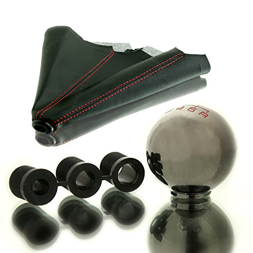 LT Sport SN#100000000847-0843-206 for Chevy Round 5-SPD Shift Knob + Black Boot Cover Set