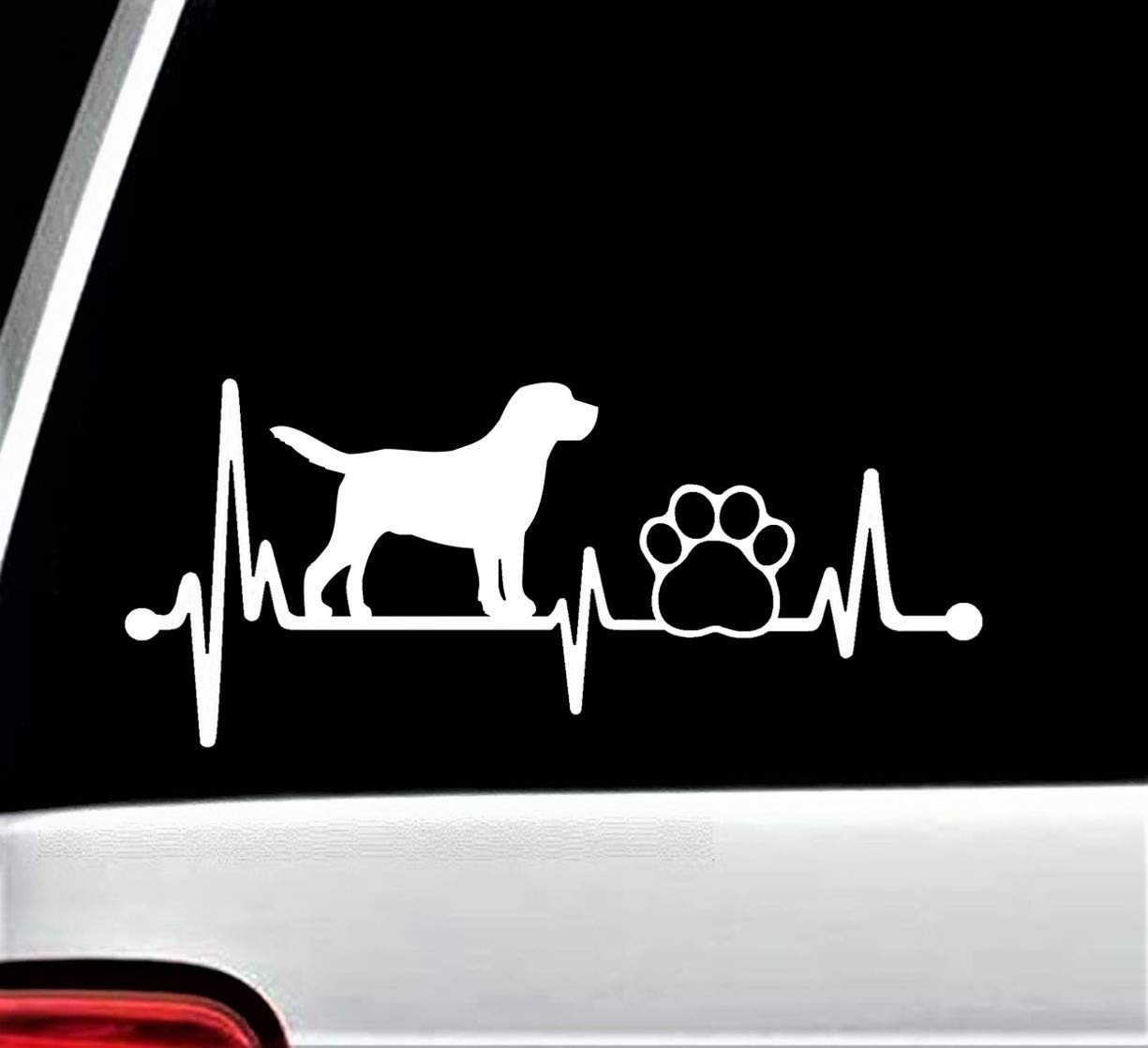 Lab Labrador Retriever Heartbeat Paw Lifeline Decal Sticker for Car Window 8 Inch BG 135