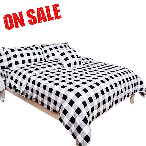 TEALP White Black Bedding 4 Piece (Duvet Cover-Pillow Cases-Deep Pocket Fitted Sheet) Twin Size