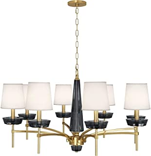 product image for Robert Abbey 625 Cristallo - Eight Light Chandelier, Modern Brass Finish with Ascot Cream Fabric Shade with Smoke Crystal