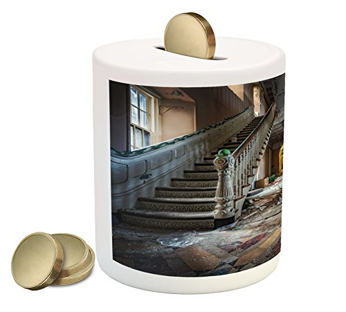 Destroyed House (Rustic Coin Box Bank by Ambesonne, Destroyed Main Entrance Hallway of Ravaged Opera House with Symmetric Stairs Photo, Printed Ceramic Coin Bank Money Box for Cash Saving, Brown Beige)