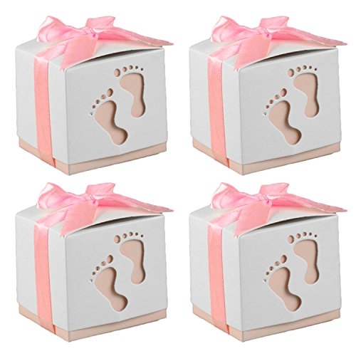 50 PCS Cute Baby Footprint Wedding Party Candy Confetti Gift Favor Box Holder with Ribbon Satin Pink