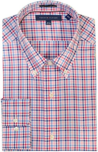tommy-hilfiger-mens-regular-fit-non-iron-multi-tattersall-mulberry-15-32-33