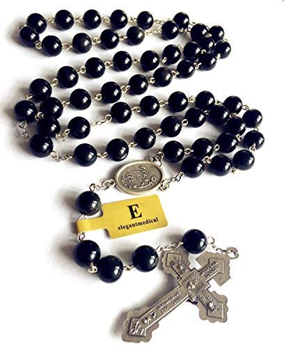 elegantmedical Handmade XL 10MM Black Obsidian Bead 5 Decade Rosary Cross Catholic Necklace Mens Gift Box 100069