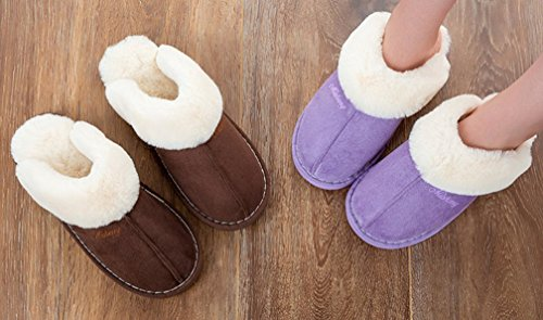 Cattior Womens Fur Lined Warm Ladies Slippers Fluffy Slippers Purple SxUYTy