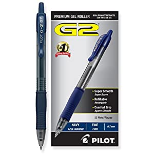 Pilot G2 Retractable Premium Gel Ink Roller Ball Pens Fine Pt (.7) Dozen Box Navy Blue; Retractable, Refillable & Premium Comfort Grip; Smooth Lines to the End of Page, America's #1 Selling Pen Brand