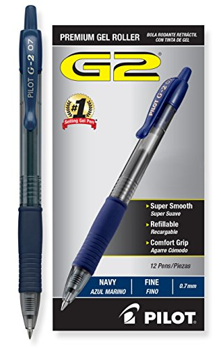 (Pilot G2 Retractable Premium Gel Ink Roller Ball Pens Fine Pt (.7) Dozen Box, Navy Blue; Retractable, Refillable & Premium Comfort Grip; Smooth Lines to End of Page, America's #1 Selling Pen Brand)
