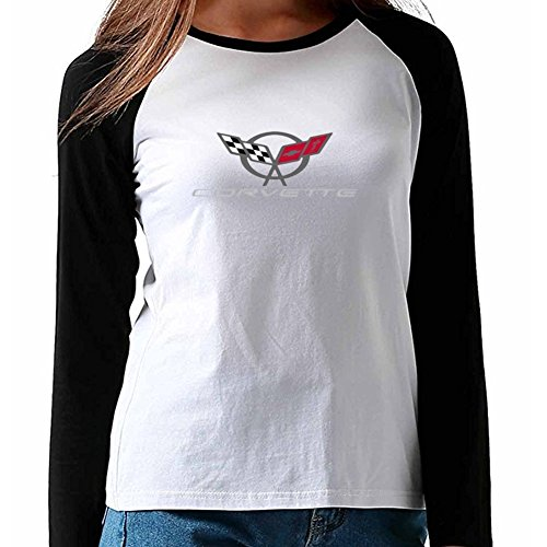Women's Corvette Modern Emblem Fans Baseball T-shirt XXL (Corvette White T-shirt)