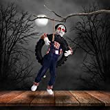 "Halloween Haunters 3 Foot Animated Hanging Swinging Leg Kicking Zombie Boy Reaper in Tire Swing Prop Decoration - 16"" Diameter, Death Howl Laughs, Red LED Eyes - Hang in Haunted House, Tree, Entryway"