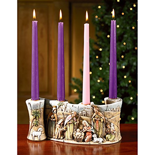 Family Advent Wreath - Holy Family Nativity Scene Resin Advent Candleholder - Candles Included!