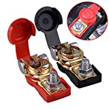 HerMia Car Battery Terminal Clamp, 1 Pair Pure Copper Positive & Negative Battery Cable Terminals Clamps Connector with Plastic Cap Clips For Car Truck Caravan