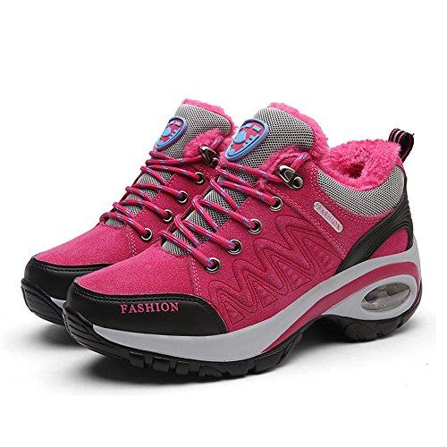Gomnear Botas De Montaña Para Mujer Piel Cálida Forrada De Alta Subida Antideslizante Zapatos De Caminata Trekking Al Aire Libre Rojo