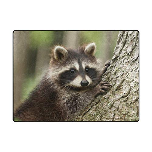 Fantasy Star Play Mat for Kids - Cute Raccoon Climb Tree Kids Area Rug Learning Carpet for Living Room Bedroom 6'8