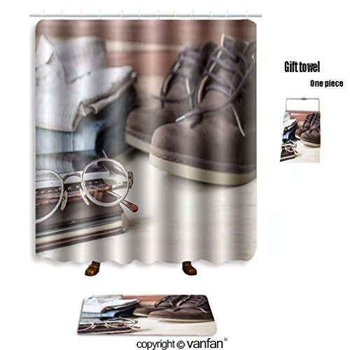vanfan bath sets with Polyester rugs and shower curtain still life with men s outfit on wooden table shower curtains sets bathroom 72 x 88 inches&31.5 x 19.7 inches(Free 1 towel and 12 (White Complete Poodle Outfit)