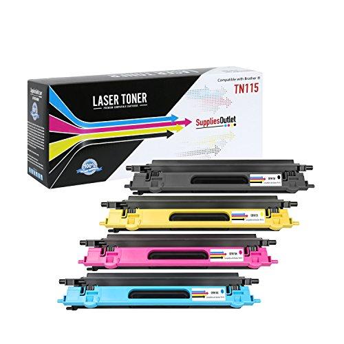 SuppliesOutlet Brother TN115 Compatible 4-Color Toner Cartridge Value Bundle (Black -TN115BK, Cyan - TN115C, Magenta - TN115M, Yellow - ()