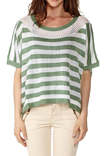 Dinamit Women's Pointelle Knit Stripe Sweater with a Dash of Sparkle Green SM