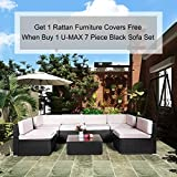 U-MAX 7 Pieces Patio PE Rattan Wicker Sofa Set Outdoor Sectional Furniture Conversation Chair Set with Cushions and Tea Table Black