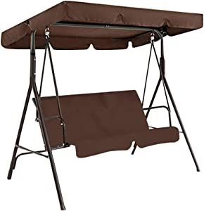 LQKYWNA Swing Seat Canopy, Rainproof Garden Chair Replacement Top Cover Dust Guard Protector for 2 & 3 Seater Sizes Outdoor Porch Patio Yard Garden Hammock (Coffee,Three-Seater L)