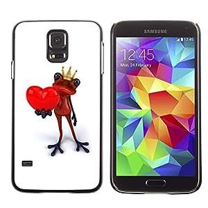 LECELL--Funda protectora / Cubierta / Piel For Samsung Galaxy S5 SM-G900 -- King Crown White Frog Love Minimalist --
