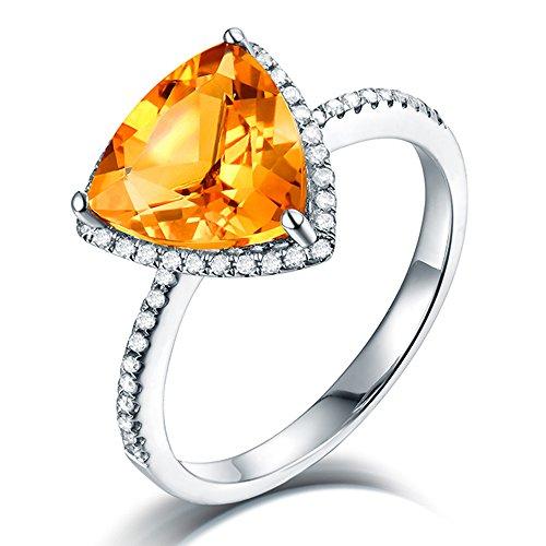 8kt White Gold Brilliant Diamonds Citrine Rings for Women ()