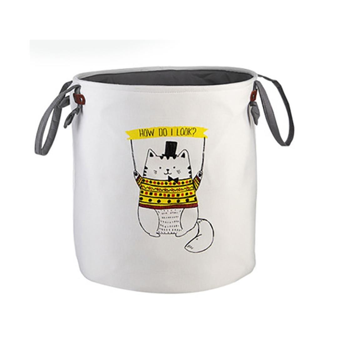 LtrottedJ Animal Canvas Sheets Toy Storage Bag,Laundry Clothes Basket Folding Storage Box (C)