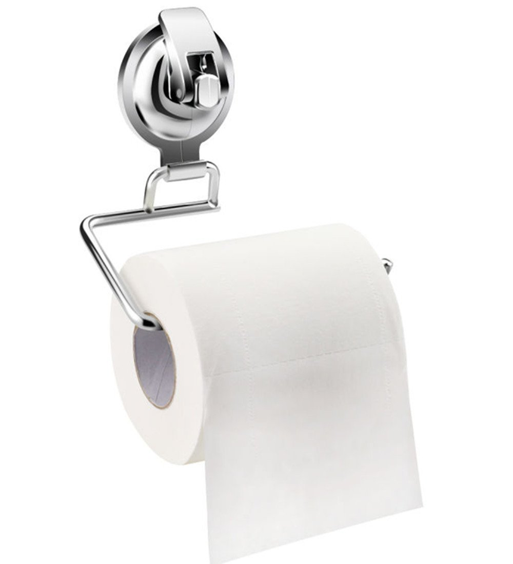Suction Cup Toilet Paper Holder Tissue Stand organizer for Bathroom &Restroom stainless still, by IROMIC