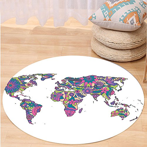 VROSELV Custom carpetWanderlust Decor Colorful World Map With Flowers Blossoms Floral Art Educational Fun Unusual Bedroom Living Room Dorm Decor Round 34 inches (Unusual Runners Table)