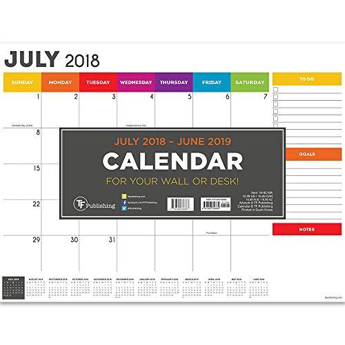 TF Publishing 19–8518un julio 2018–Junio 2019Rainbow Mini calendario de almohadilla de computadora, 12x 9',...