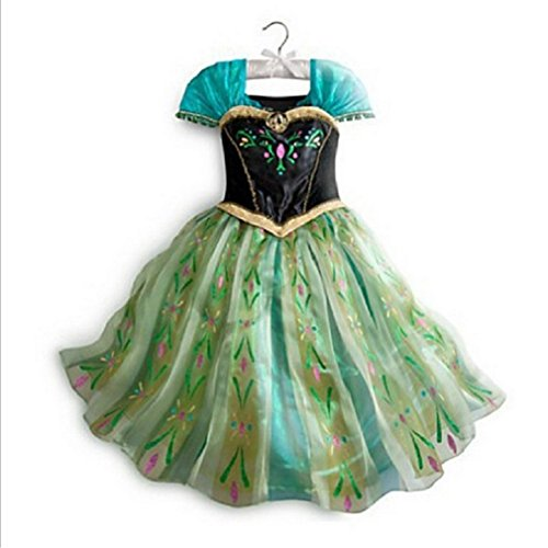 Frozen Disney Dresses (FAC1 Anna Coronation Dress Disney Frozen Inspired Girl Costume Kids Size 3T-10 USA (5/6 (120cm)))