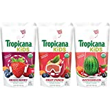 Tropicana Kids Organic Juice Drink Pouch, Variety Pack - Fruit Punch, Watermelon, Mixed Berry, 5.5 fl oz, 32 count