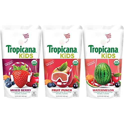 Tropicana Kids Organic Juice Drink Pouch, Variety Pack - Fruit Punch, Watermelon, Mixed Berry, 5.5 fl oz, 32 count (Kids Organic Juice Boxes)