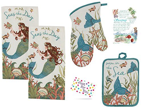 J4U Seas the Day Mermaid Kitchen Set - 2 Terry Towels, Oven Mitt, Potholder and Seaspray Scented Sachet with Gift Tag