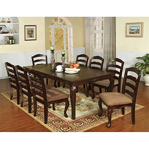 Furniture of America Pienne 7 Piece Carved Dining Set in Dark Walnut