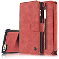 iPhone 6S Plus Magnetic DetachableCase, XRPow Premium Back Cover Slim Leather Folio Wallet Holder Case for Apple iPhone 6/6s Plus 5.5inch RED