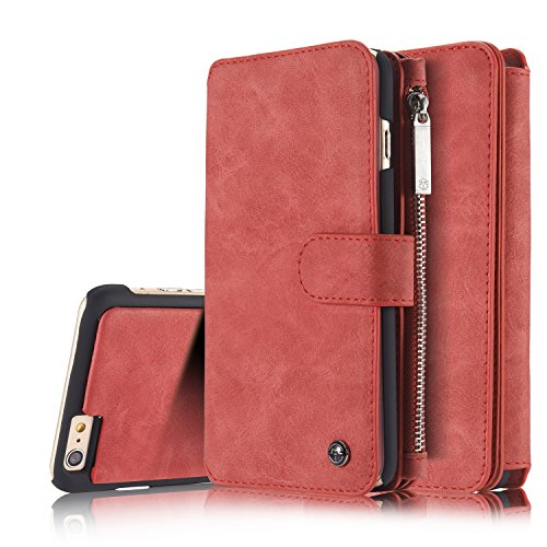 iPhone 6s Plus Wallet Case Folio Magnetic Detachable, SAVYOU 2in1 Luxury Series Premium Vegan Leather Flip Wallet Card Holder with Kickstand Slim PC Back Cover for iPhone 6 Plus/6s Plus RED