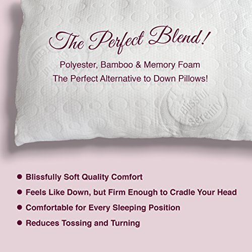 Best Bamboo Alternative Down Pillow - Adjustable Custom Fit to You - Soft Hypoallergenic Polyester - Memory Foam Liner - Machine Washable - Removable Cooling Cover