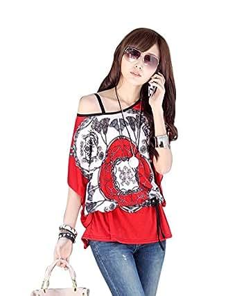 SaiDeng Mujer Exotica Colorido Impreso Floral Suelto Manga Corta Camiseta Blusas China Rojo XL