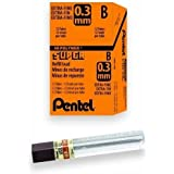 Pentel Super Hi-Polymer Lead, 0.3mm Extra Fine, B, 12 pcs/Tube, Box of 12 Tubes (300-B)