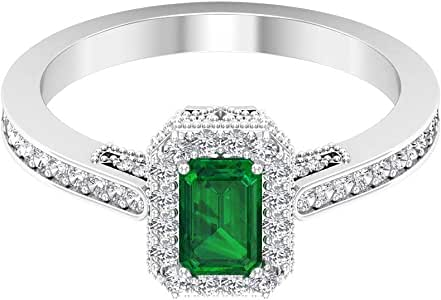 0.6 Ct SGL Certified Emerald Solitaire Ring, 0.38 Ct Diamond Halo Wedding Ring, Octagon Shape Gemstone Women Ring, Unique Beaded Engraved Bridal Ring