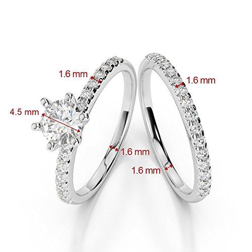 G-H/VS 0,50CT Coupe ronde sertie de diamants Émeraude et diamants blancs et bague de fiançailles en platine 950Agdr-1145