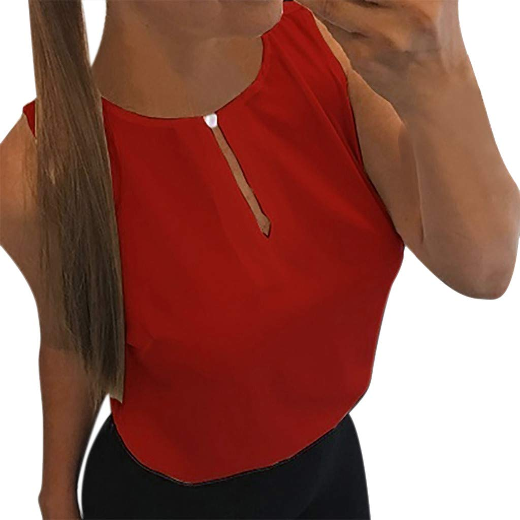 Hot! Chiffon Blouse Shirts for Women Elegant Tops O-Neck Solid Crop Jumper Casual Tunic T-Shirt Red