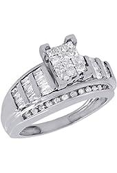 10K White Gold Princess, Round, & Baguette Cut Diamond Rectangle Engagement Ring 0.90 Cttw