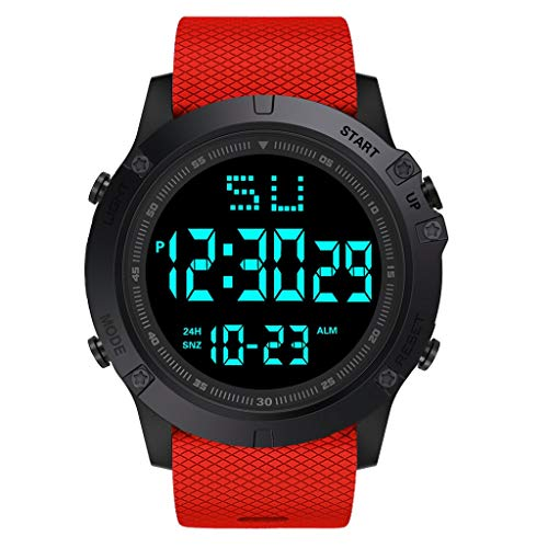 WoCoo Men Watches,Military Digital LED Quartz Waterproof Alarm Date Dial Watch with TPU Mesh Band Sport Wristwatch(Red,HONHX) (Omega Stopwatch)