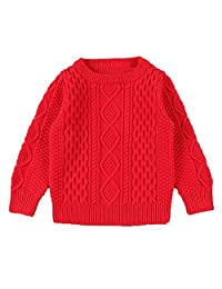 Baby Girls Boys Winter Cable Knitted Sweater Pullover Warm Sweatshirt
