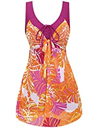 Womens Plus Size Swimdress Flower Printed Swimwear Cover Up Swimsuits